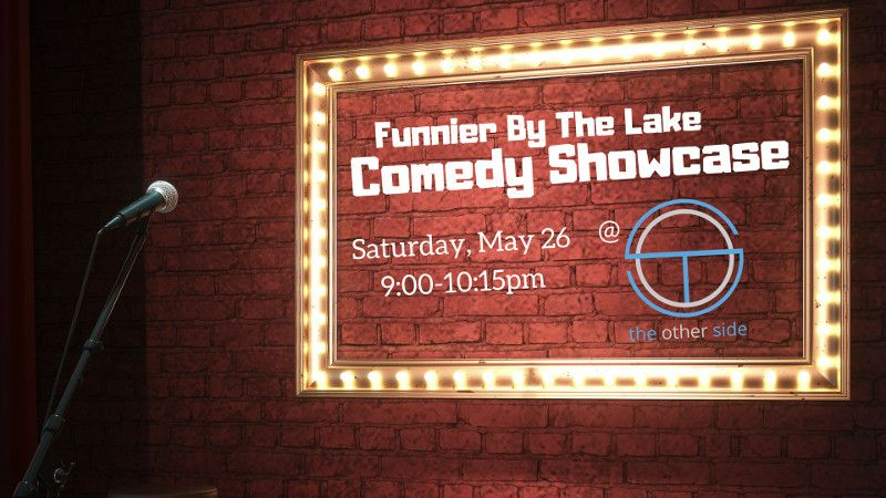 Picture of a comedy club with an advertisement for this event.
